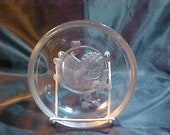Beautiful 6 quot clear glass bowl with Lalique type frosted glass cupid Nice. Signed