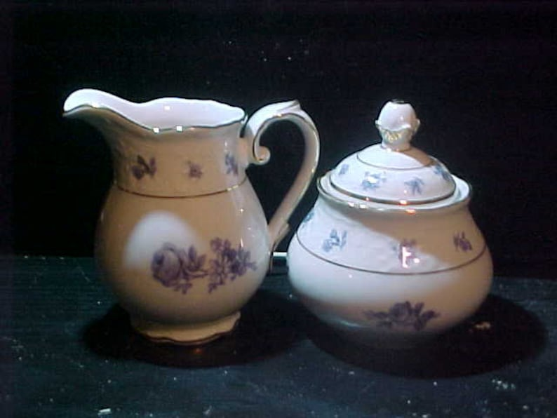 Vintage Schuman Artzberg Creamer and sugar small blue flowers Quite  expensive and hard to find
