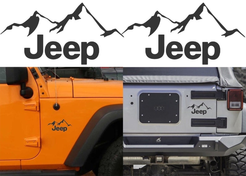 Lime Green Jeep Climbing Mountain Decals For 2007-2018 Jeep Wrangler JK JL New