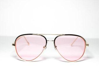 fa8b8cdf82a51 Pink Lens Gold Frame Aviator Sunglasses for Women Men