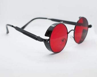 aeb6c3956b16 Red Tint Black Frame John Lennon Hippie Retro Festival Sunglasses Men/Women