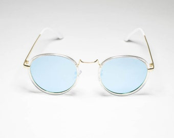0199e8201 Light Blue Lens Gold Frame John Lennon Type Hippie Retro Sunglasses Men/ Women