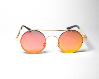 0fd1bc59886 Red Tint Gold Frame John Lennon Hippie Retro Festival Sunglasses Men Women