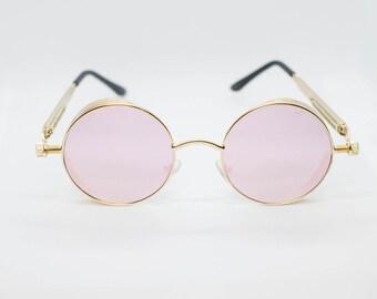 a86b58f4b06 Pink Lens Gold Frame John Lennon Type Hippie Retro Gold Sunglasses Men Women