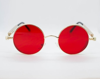 bf0532c548 Red Tint Gold Frame John Lennon Hippie Retro Festival Sunglasses Men Women