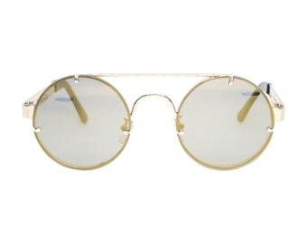fe79e63be215 Brown Tint Gold Frame John Lennon Hippie Retro Festival Sunglasses Men/Women
