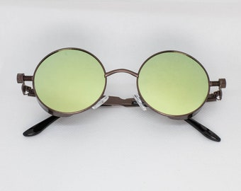 45891a29ae0 Green Tint Black Frame John Lennon Hippie Retro Festival Sunglasses Men  Women