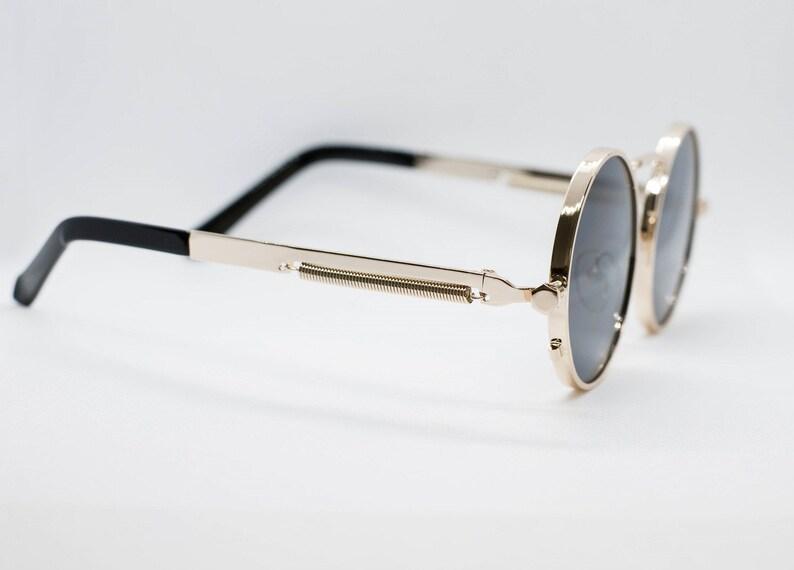 f3f17c8317 Black Tint Gold Frame John Lennon Type Hippie Retro Sunglasses