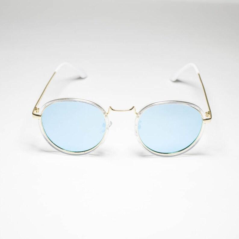 1e1343a4ba Light Blue Lens Gold Frame John Lennon Type Hippie Retro