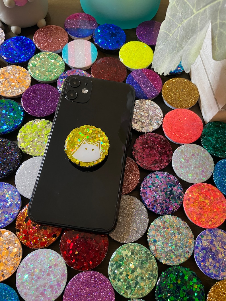 Glitter Poppins Cute Personal Animal Dinosaur Phone Grip Custom