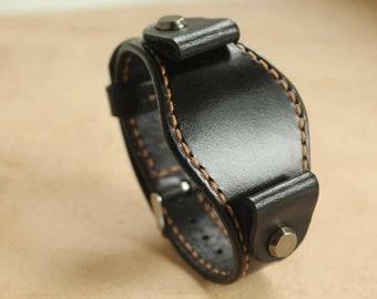 Handmade Black Watch cuff strap Mens Leather Watch strap  Custom Watch band  Vintage Wrist Watch Leather Watch  military band