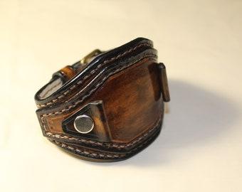 Handmade Brown Watch cuff strap Mens Leather Watch strap  Custom Watch band  Vintage Wrist Watch Steampunk Leather Watch  biker band