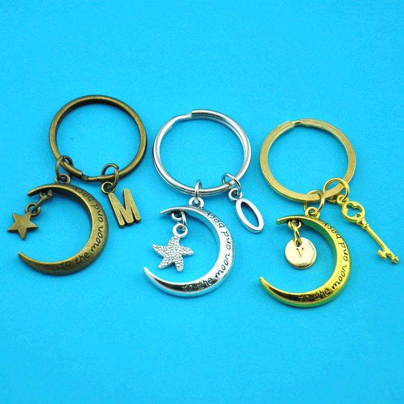 Moon keychain,moon gifts key ring,Crescent Moon Keychain with Initial,Half Moon Key chain Crescent Moon Gift-19001841