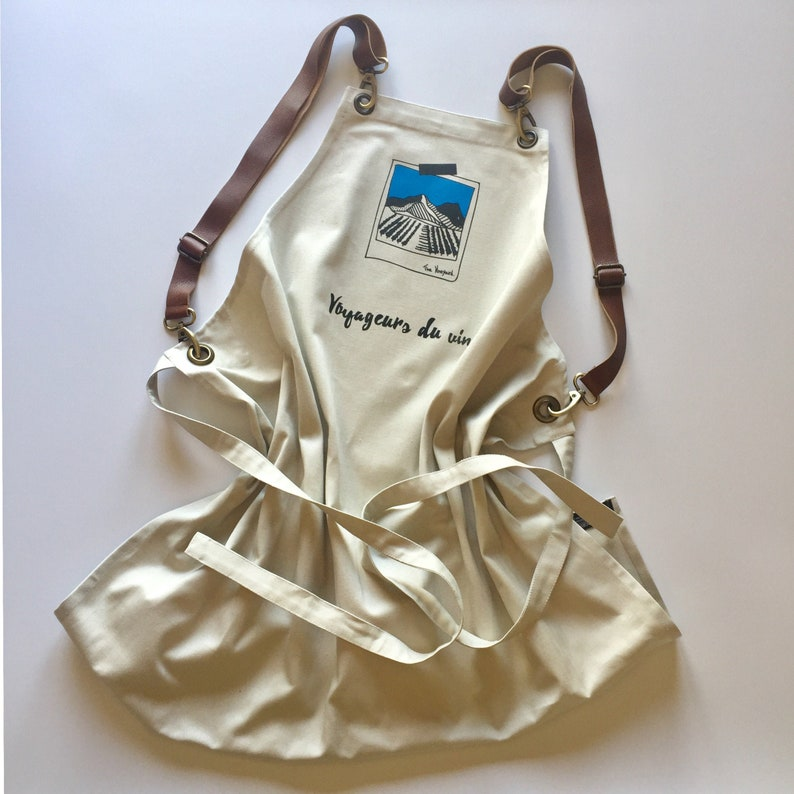 Wine themed apron gift for wine lover image 0