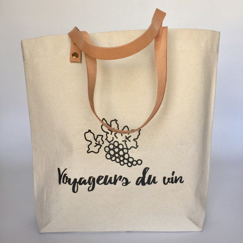 Wine themed tote bag gift for her gift for wine lover image 0