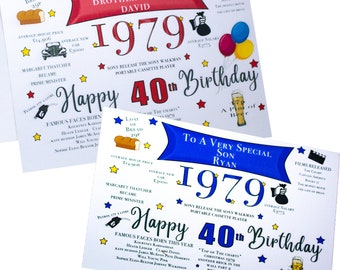 40th 1979 Personalised Birthday Facts Of The Year Card Son Grandson Husband Boyfriend Brother Nephew Any Role Red Or Blue