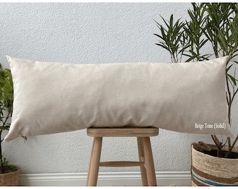 Natural Linen body pillow cover, Long body pillow case, Long linen lumbar pillowcase, farmhouse pillow (Only Cover)