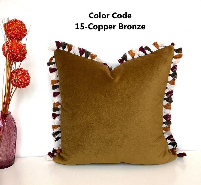 Solid Color Throw Pillow Cushions Sofa Pillow Tasseled Velvet Pillow Case Various Options for Decorative Pillows Touch Pillows