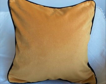Mustard Velvet Throw Pillow Cover, Black Cord Pillow, Modern Decor Living room, 20x20 Mustard Yellow Pillow, 50x50  Pink cover, (Only Cover)