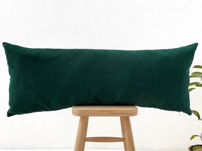 Emerald Green Long Pillow Case 14x36 Lumbar Pillow Cover
