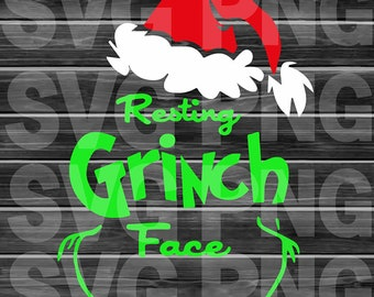Resting Grinch Face Xmas  SVG, DXF, PNG, Eps ,Cut Files Digital