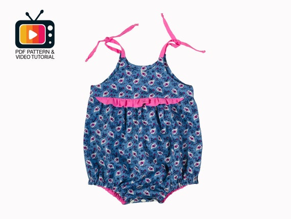 220b98c366e8 Baby summer romper sewing pattern PDF Playsuit baby girl