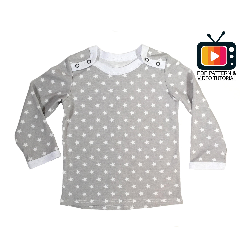 0231f0cf0db5 Baby top long sleeve sewing pattern Pdf Baby sewing pattern