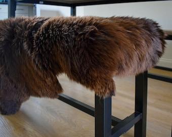 Natural Genuine Sheepskin Eco-Pelt Rug Teddy Bear Brown