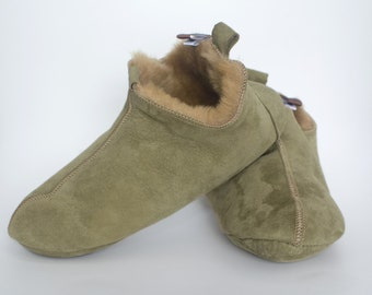 Men's Women's Genuine Sheepskin Slippers Olive 100% Real Fur Hand Crafted SOFT SOLE