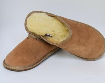 Men's Women's Genuine Sheepskin Slippers Fur Hand Crafted HARD SOLE