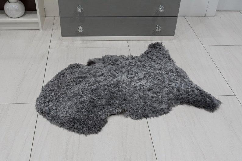 Genuine Rare Scandinavian Gotland Sheepskin Rug Soft Curly Wool In Light Greys Short hair