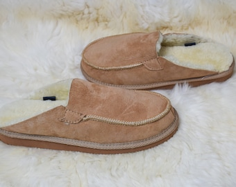 Genuine Sheepskin Slippers Mens 100% Real Fur Hand Crafted HARD SOLE