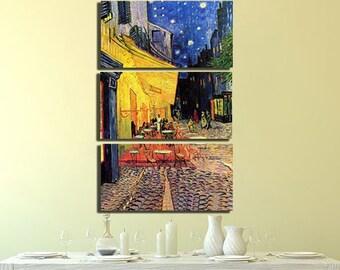 e247aa64678 Night terrace Van gogh canvas Café wall art Cafe decor Van Gogh print Van  gogh poster Canvas painting Cafe gift Cafe terrace Van gogh cafe