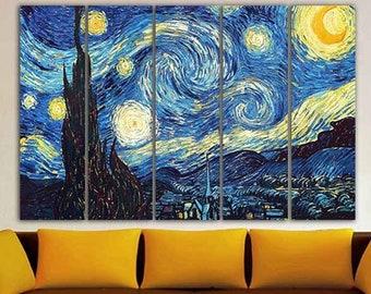 Star Trek inspired Art FRAMED Paper print van Gogh Never Boldly Went starry night Gift 12x16