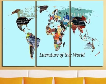 Literature Map Of The World.World Literature Map Etsy