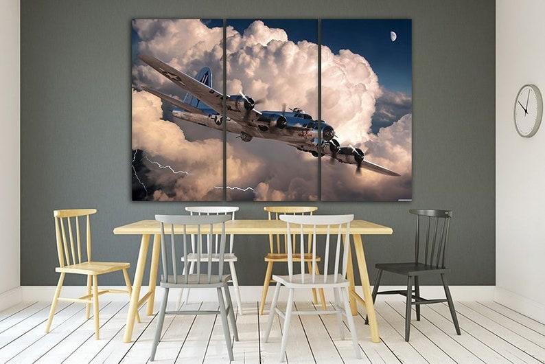 Panel wall art Aviation print Aircraft canvas Airplane wall art Army decor Military aircraft Retro wwii World war plane American aviation