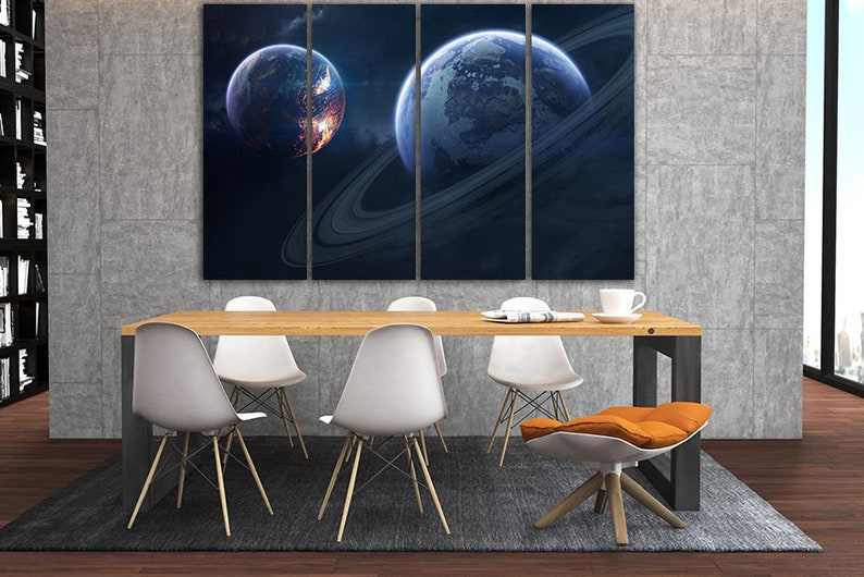 Print on canvas Rings of Saturn Planet ring Saturn wall art Solar system Universe decor Space art decor Planets photo Science gift Solar art