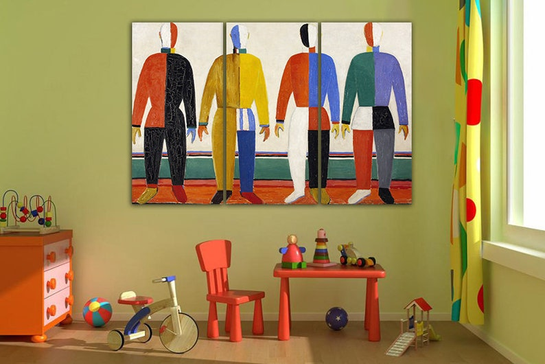 Kazimir Malevich Wall art canvas Sportsmen d\u00e9cor Malevich artwork Famous artist Ready to hang art Sportsmen wall art Colorful art print