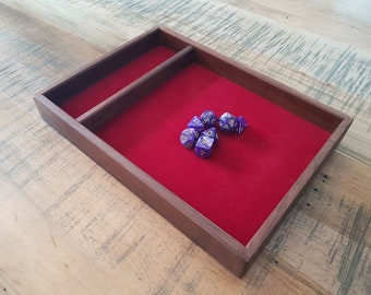 Roasted Maple Dice Tray for D&D, Pathfinder, other RPGs and Tabletop Gaming. Solid Wood and Handmade.