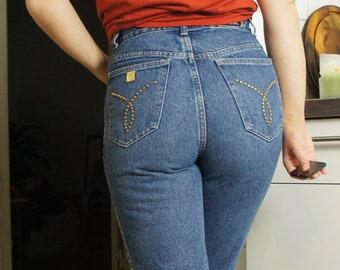"""Original MCM High-Waist Blue Jeans 31"""" w/ little spikes"""