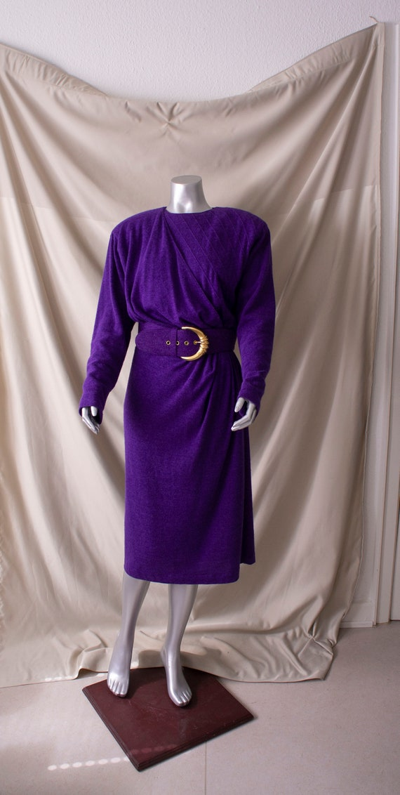 Vintage 80s Designer Angora Dress + Belt Louis Fer