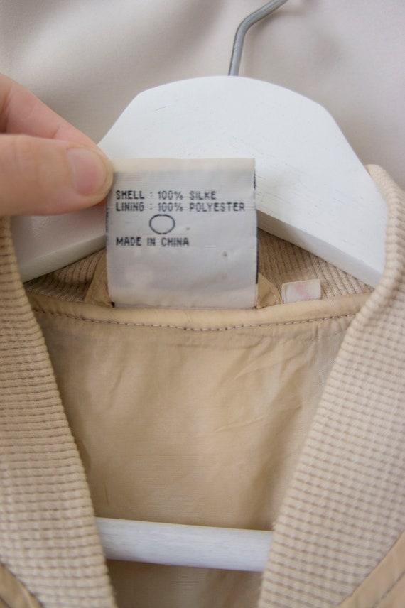 Vintage 80s 90s 100% Silk Zip Blouson *Natural Ha… - image 9
