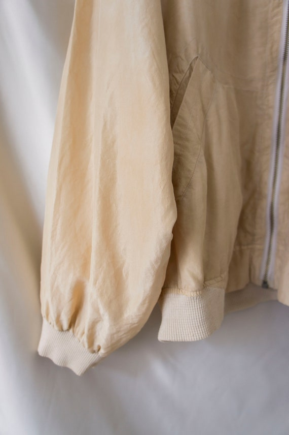Vintage 80s 90s 100% Silk Zip Blouson *Natural Ha… - image 7