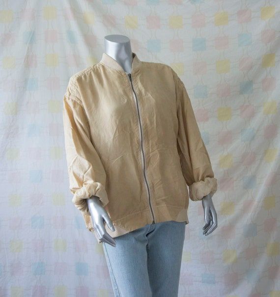 Vintage 80s 90s 100% Silk Zip Blouson *Natural Ha… - image 4