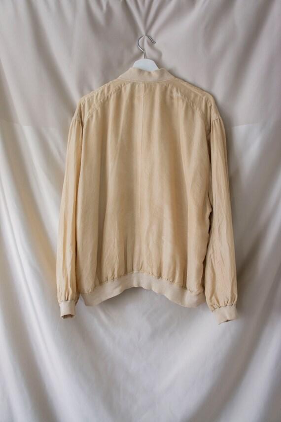 Vintage 80s 90s 100% Silk Zip Blouson *Natural Ha… - image 8