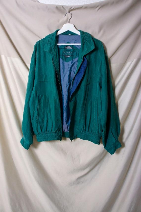 Vintage Yorn For Men 100% Silk Bomber Jacket 52/5… - image 2
