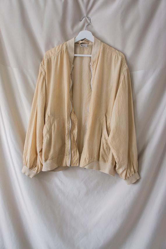 Vintage 80s 90s 100% Silk Zip Blouson *Natural Ha… - image 6