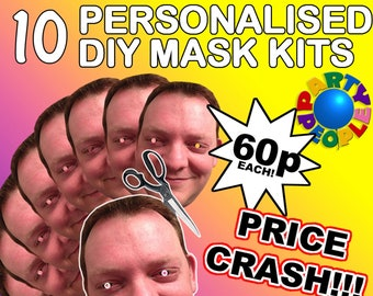 39ba3d976f6 10 X Personalised Photo Face Mask Kits D.I.Y. or Ready To Wear For Stag   Hen  Night And Birthday Party - custom novelty - fancy dress