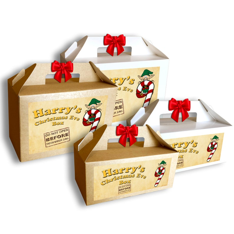 Personalised Christmas Eve Gift Box Brown White Xmas Present Party Favour