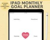 iPad Monthly Goal Planner, DIGITAL DOWNLOAD